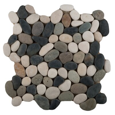Venetian Pebbles 12 x 12 Mosaic Tile in Natural Texture Mocha