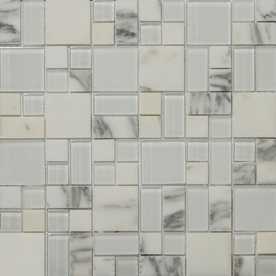 Lucente 13 x13 Glass Stone Blend Pattern Mosaic Tile in Ambrato