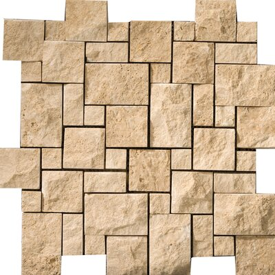 Travertine 12 x 12 Splitface Versailles Mosaic Tile in Beige