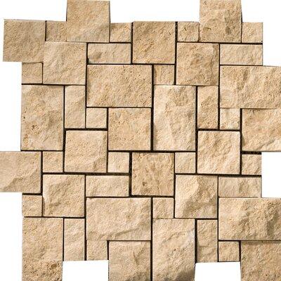 Travertine 12 x 12 Splitface Versailles Mosaic Tile in Beige