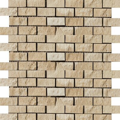 Travertine 1 x 2/12 x 12 Splitface Offset Mosaic in Beige