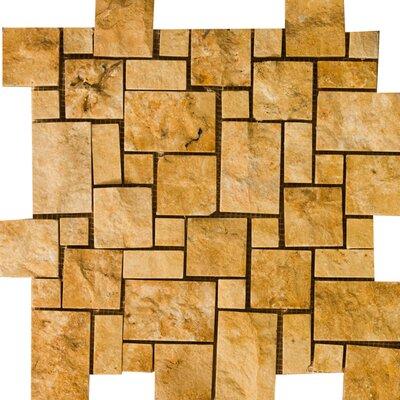 Travertine 12 x 12 Splitface Versailles Mosaic Tile in Mocha