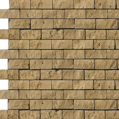 Travertine 1 x 2/12 x 12 Splitface Offset Mosaic in Tumbled Mocha