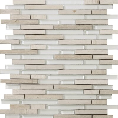 Lucente 12 x 12 Glass Stone Blend Linear Mosaic Tile in Andrea