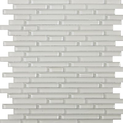 Lucente 12 x 13 Glass Linear Mosaic Tile in Blanc