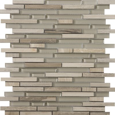 Lucente 12 x 13 Glass Stone Blend Linear Mosaic Tile in Certosa