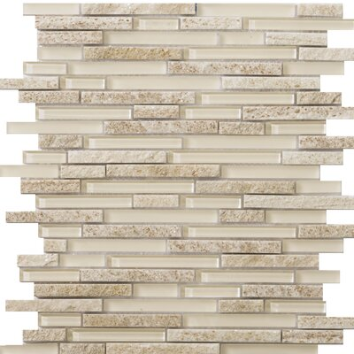 Lucente 12 x 13 Glass Stone Blend Linear Mosaic Tile in Servolo