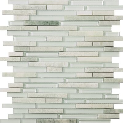 Lucente 12 x 13 Glass Stone Blend Linear Mosaic Tile in Lazzaro