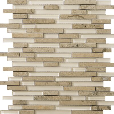 Lucente 12 x 13 Glass Stone Blend Linear Mosaic Tile in Lido