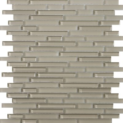 Lucente 12 x 13 Glass Linear Mosaic Tile in Morning Fog