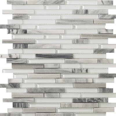 Lucente 12 x 13 Glass Stone Blend Linear Mosaic Tile in Grazia