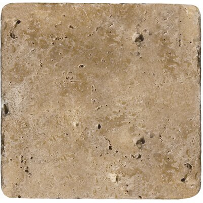 Travertine 4 x 4 Tile in Ancient Tumbled Mocha