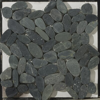 Flat Venetian Pebbles 12 x 12 Mosaic Tile in Graphite