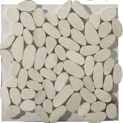 "Natural Stone 12"" x 12"" Marble Flat Venetian Pebble in Ivory"