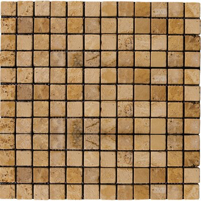 1 x 1 Travertine Mosaic Tile in Oro