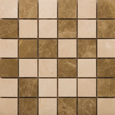 "Natural Stone 2"" x 2"" Marble Polished Mosaic in Crema Marfil/Emperador Light"