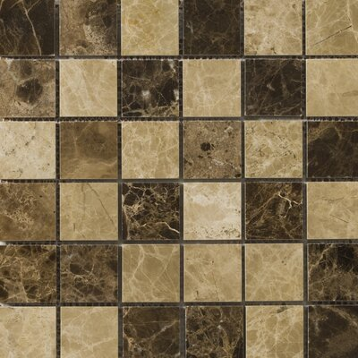 "Natural Stone 12"" x 12"" Polished Marble Mosaic in Emperador Light/Emperador Dark"