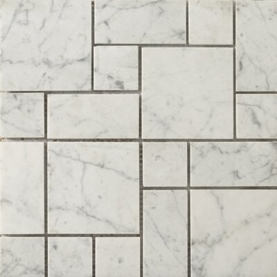 Marble Mini Versailles Patterned Mosaic Tile in Bianco Gioia Honed