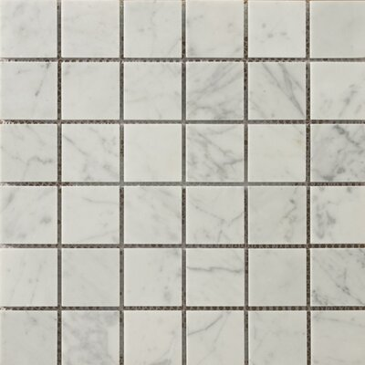 Marble 2 x 2/12 x 12 Mosaic Tile in Bianco Gioia