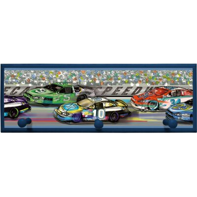 Race Cars Wall Plaque with Wooden Pegs PLK-1250-NA