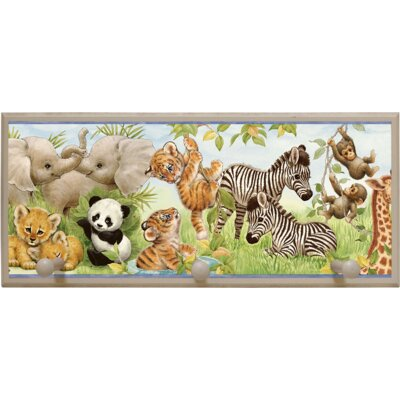 Jungle Pals Wall Plaque with Wooden Pegs PLK-1255-ES