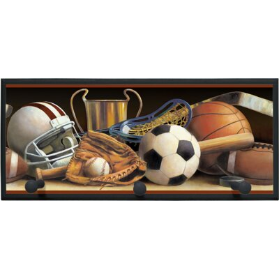 Classic Sports Wall Plaque with Wooden Pegs PLK-1257-BK