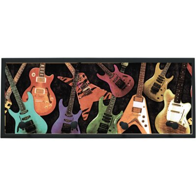 Guitar Montage Wall Plaque with Wooden Pegs PLK-1264-BK