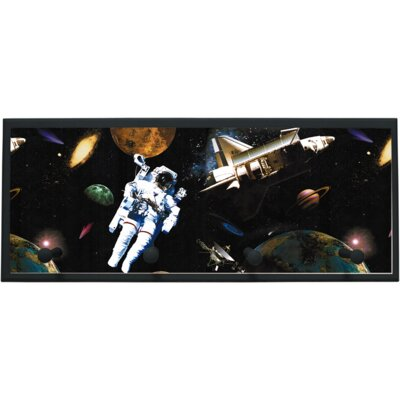 Astronauts in Space Wall Plaque with Wooden Pegs PLK-1265-BK