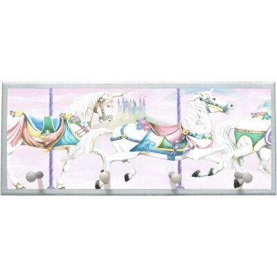 Unicorn Carousel Wall Plaque with Wooden Pegs PLK-1268-WH