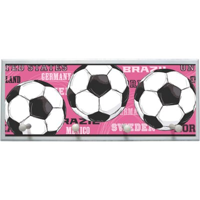 Pink Soccer Balls Wall Plaque with Wooden Pegs PLK-1275-WH