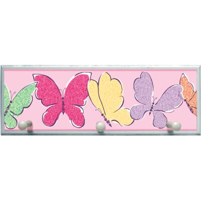 Butterflies Graphic Art on Plaque with Wooden Pegs PLK-1135-WH