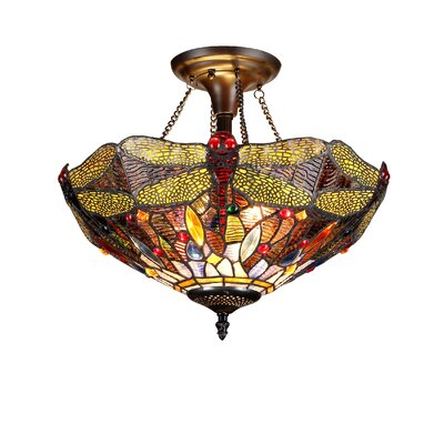 Dragonfly 2-Light Dragon Semi Flush Mount