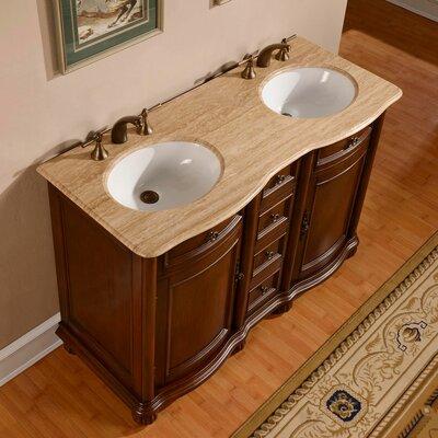Adela 52 Double Bathroom Vanity Set Top Finish: Travertine