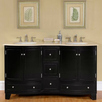 60 Double Sink Cabinet Bathroom Vanity Set