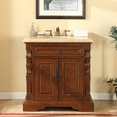 36 Single Sink Bathroom Vanity Set Top Finish: Travertine Stone