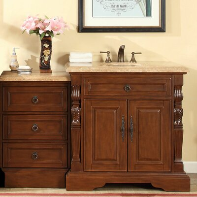 55.5 Single Sink Bathroom Modular Vanity Set Top Finish: Travertine Stone