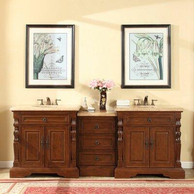 90 Double Sink Bathroom Modular Vanity Set Top Finish: Travertine Stone