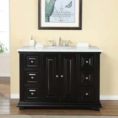 48 Single Sink Bathroom White Marble Vanity Set