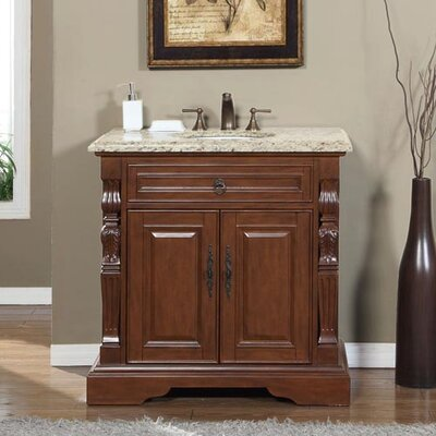 36 Single Sink Bathroom Vanity Set Top Finish: Venetian Gold Granite Stone