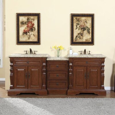 90 Double Sink Bathroom Modular Vanity Set Top Finish: Venetian Gold Granite Stone