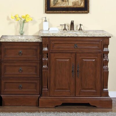 55.5 Single Sink Bathroom Modular Vanity Set Top Finish: Venetian Gold Granite Stone