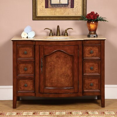 Crawford 48 Single Bathroom Vanity Set Top Finish: Travertine Stone
