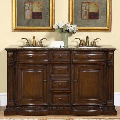 Hedlund 60 Double Bathroom Vanity Set Top Finish: Baltic Brown Granite Stone