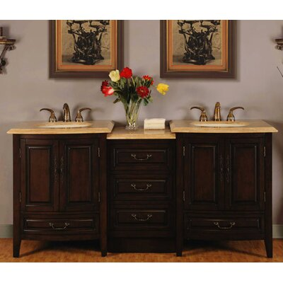 72 evelyn double sink bathroom vanity stone top cabinet w led