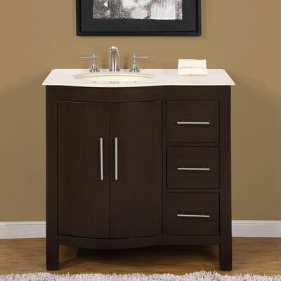 Kimberly 36 Single Bathroom Vanity Set Sink Location: Left Side, Top Finish: White