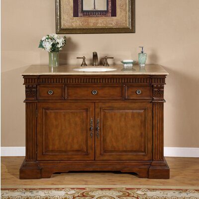 Windham 48 Single Bathroom Vanity Set Top Finish: Travertine Stone