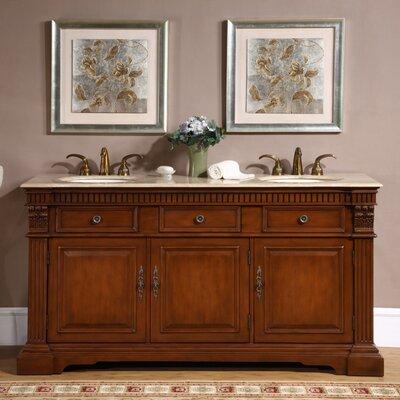 Windham 67 Double Bathroom Vanity Set Top Finish: Travertine Stone