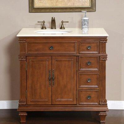 Brennen 36 Single Bathroom Vanity Set Sink Location: Sink on the Left, Top Finish: Cream Marfil Marble Stone