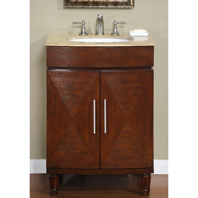 Adella 26 Single Bathroom Vanity Set Top Finish: Travertine Stone