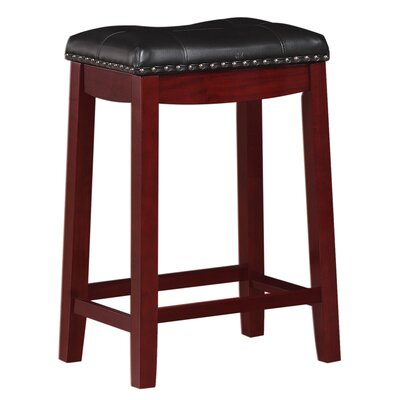 Cambridge 24 Bar Stool Finish: Cherry, Upholstery: Black